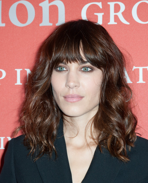 Alexa Chung Medium Wavy Cut with Bangs