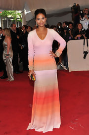 Joy Bryant was bursting with color at the 2011 Met Gala. She graced the red carpet in a multi-hued long-sleeve gown.