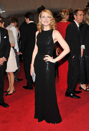 Patricia Clarkson paired her sequin black dress with three Art Deco diamond bracelets in platinum.