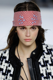 Kaia Gerber looked patriotic wearing this stars-and-stripes headscarf at the Alexander Wang fashion show.