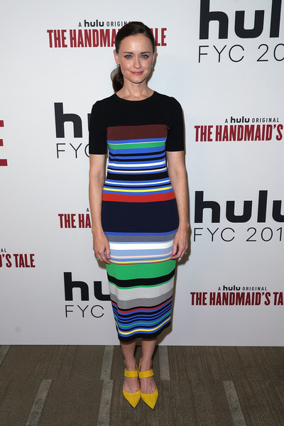 Alexis Bledel Pumps [the handmaids tale,clothing,dress,fashion,shoulder,cocktail dress,footwear,fashion design,premiere,carpet,style,alexis bledel,hulu,beverly hills,california,samuel goldwyn theater,fyc,ampas,event,the handmaids tale fyc event]