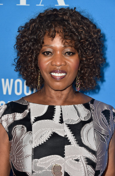 Alfre Woodard Short Curls [hair,hairstyle,jheri curl,black hair,s-curl,ringlet,long hair,lace wig,smile,arrivals,alfre woodard,beverly hills,california,the beverly hilton hotel,hollywood foreign press association,grants banquet,hollywood foreign press associations grants banquet]
