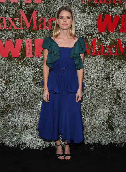 Alice Eve Strappy Sandals [instyle max mara women in film celebration,alice eve,clothing,dress,blue,cocktail dress,fashion,electric blue,footwear,day dress,formal wear,premiere,chateau marmont,los angeles,california]