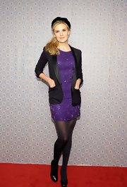 Maggie Grace chose a chic black blazer to give her purple sparkly dress just the hint of casualness it needed.