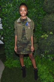 Skai Jackson finished off her ensemble with a pair of black moto boots.