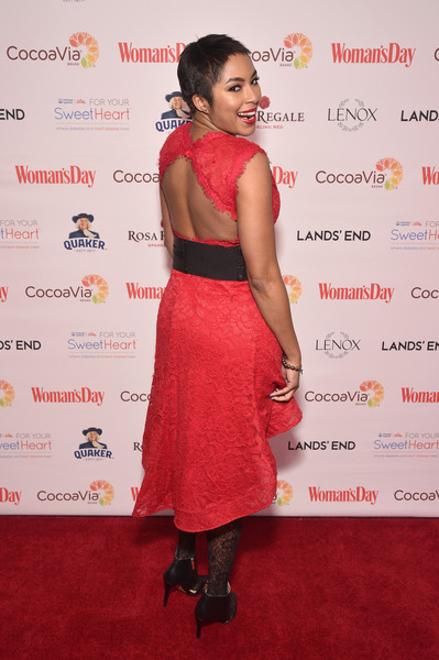 Alicia Quarles Cutout Dress [womans day,clothing,red,dress,red carpet,carpet,premiere,cocktail dress,hairstyle,fashion,shoulder,alicia quarles,red dress awards,new york city]