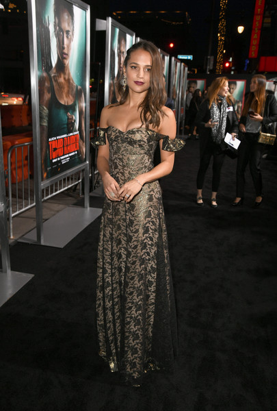 Alicia Vikander Off-the-Shoulder Dress