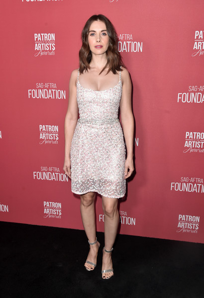 Alison Brie Sequin Dress [dress,clothing,cocktail dress,shoulder,fashion model,premiere,fashion,pink,footwear,carpet,arrivals,alison brie,beverly hills,california,wallis annenberg center for the performing arts,sag-aftra foundations 3rd annual patron of the artists awards,sag-aftra foundations 3rd annual patron of the artists awards]