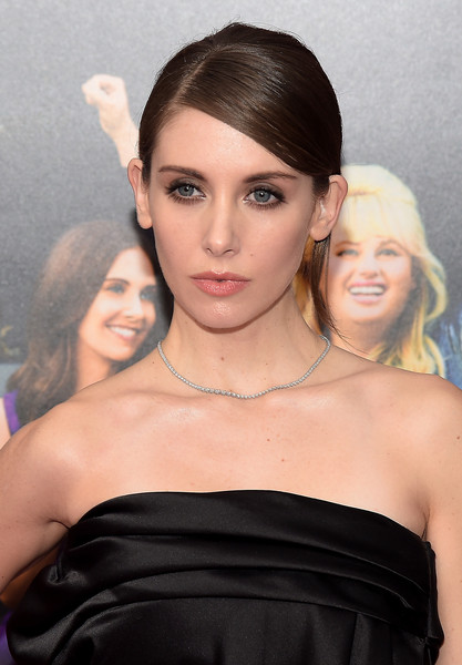 Alison Brie Diamond Tennis Necklace [how to be single,hair,face,hairstyle,eyebrow,beauty,lip,skin,shoulder,chin,blond,alison brie,new york,nyu skirball center,premiere,new york premiere]