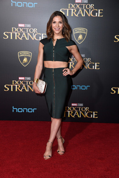 Allison Holker Leather Clutch [doctor strange,red carpet,clothing,carpet,dress,premiere,little black dress,shoulder,flooring,event,cocktail dress,arrivals,allison holker,california,hollywood,el capitan theatre,disney,marvel studios,premiere,premiere]