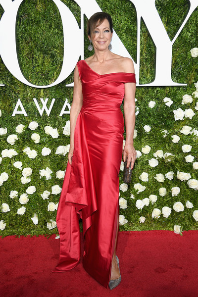 Allison Janney Off-the-Shoulder Dress [gown,flooring,carpet,dress,lady,red carpet,shoulder,beauty,formal wear,fashion,arrivals,allison janney,tony awards,radio city music hall,new york city]