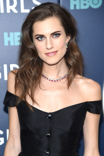 Allison Williams Long Wavy Cut [the new york premiere of the sixth,hair,hairstyle,shoulder,eyebrow,beauty,brown hair,long hair,chin,dress,lip,arrivals,allison williams,girls,lincoln center,new york city,alice tully hall,new york premiere of the sixth,season]