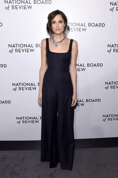Allison Williams Jumpsuit [allison williams,arrivals,clothing,dress,fashion model,fashion,shoulder,neck,little black dress,haute couture,gown,formal wear,national board of review annual awards gala,the national board of review annual awards gala,new york city,cipriani 42nd street]