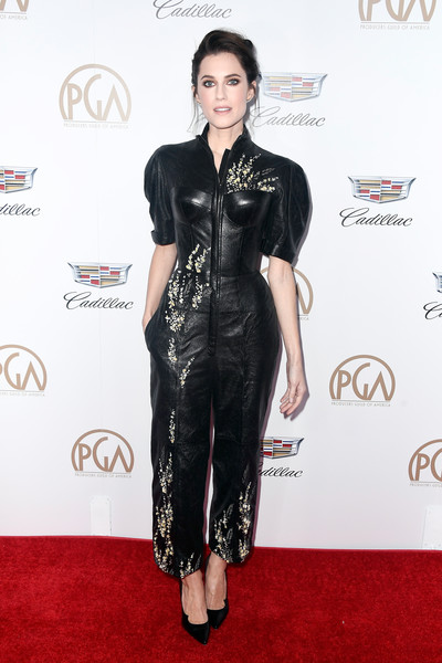 Allison Williams Jumpsuit [clothing,red carpet,carpet,fashion model,fashion,dress,hairstyle,flooring,footwear,waist,arrivals,allison williams,the beverly hilton hotel,beverly hills,california,annual producers guild awards]