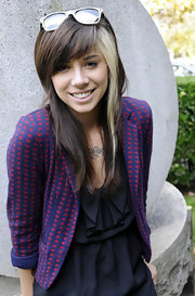 This heart print blazer added added a certain sweetness to Christina's simple black dress.
