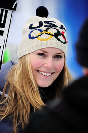 Lindsey Vonn proudly supports Team USA with this pompom beanie.