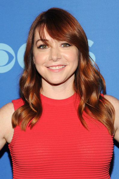 Alyson Hannigan Long Wavy Cut with Bangs [hair,face,hairstyle,brown hair,chin,layered hair,blond,hair coloring,long hair,shoulder,alyson hannigan,presentation,lincoln center,new york city,cbs,cbs 2013 upfront presentation,the tent]