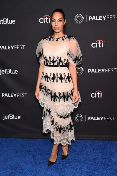 Amanda Brugel Embroidered Dress [the handmaids tale,clothing,dress,shoulder,premiere,fashion,cocktail dress,hairstyle,joint,fashion model,carpet,arrivals,amanda brugel,los angeles,dolby theatre,california,hollywood,paley center for media,paleyfest]