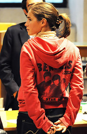 Amanda Knox dressed very casually for her trail... on this day wearing a Beatles hoodie over jeans.
