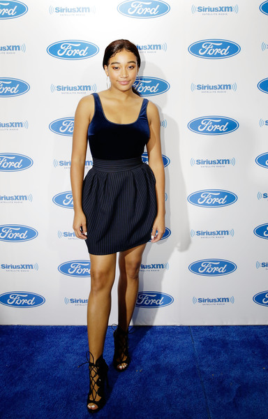 Amandla Stenberg Lace-Up Heels [heart soul channel broadcasts,photo,clothing,cobalt blue,dress,cocktail dress,shoulder,blue,electric blue,fashion model,fashion,little black dress,amandla stenberg,new orleans,louisiana,siriusxm,essence festival]
