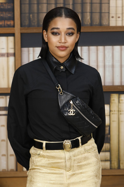 Amandla Stenberg Quilted Leather Bag [black,clothing,fashion,photography,sleeve,fashion accessory,beige,waist,model,black hair,amandla stenberg,photocall,part,paris,france,grand palais,chanel,haute couture fall winter 2020,photocall - paris fashion week]