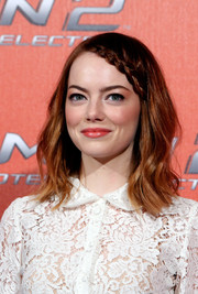 Emma Stone was boho-chic with her subtly wavy 'do and braided bangs during the 'Amazing Spider-Man 2' photocall in Rome.