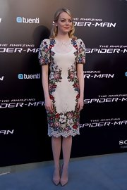 Emma Stone was a beauty in this lace embroidered number at the 'Spider-Man' premiere in Spain.