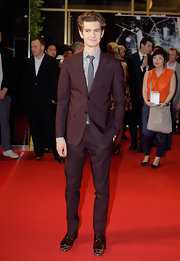 "Andrew Garfield showed some style pizazz in these ""Gareth"" gunmetal cap-toe shoes at the South Korea premiere of 'The Amazing Spider-Man.'"