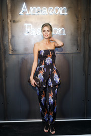 Donna Air was summer-chic in a strapless printed jumpsuit by Caterina Gatta at the Amazon Fashion Photography Studio launch.