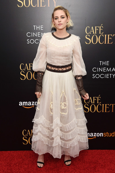 Kristen Stewart gave off a princess-gone-wild vibe in this white Chanel dress, featuring a midriff cutout, lace-up seams, and black leather trim, at the New York premiere of 'Cafe Society.'