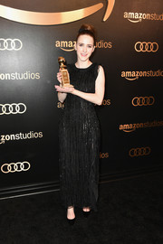 Rachel Brosnahan was flapper-chic in a fringed black gown by Emporio Armani at the Amazon Studios Golden Globes celebration.