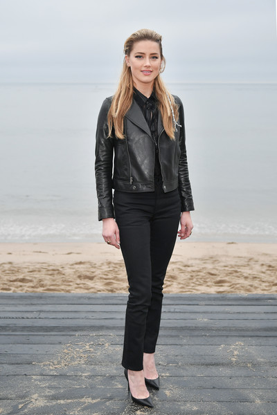 Amber Heard Slacks [clothing,leather,black,jacket,leather jacket,fashion,jeans,outerwear,shoulder,textile,amber heard,call,malibu,california,saint laurent mens spring summer 20 show]