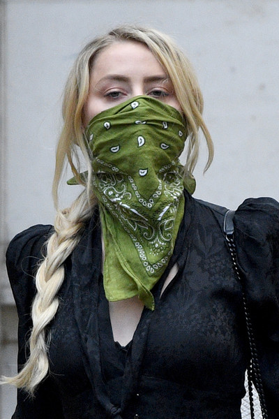 Amber Heard Patterned Scarf [johnny depp in libel case against the sun newspaper,green,clothing,head,scarf,personal protective equipment,headgear,helmet,costume,mask,fashion accessory,actor,amber heard,publishers,strand,scarf,allegations,royal courts of justice,court,news group newspapers,scarf]