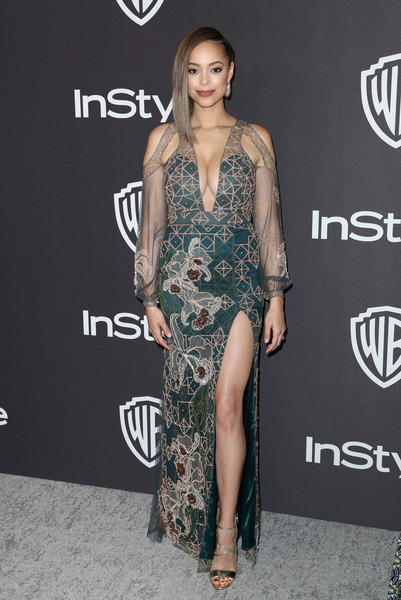 Amber Stevens West Beaded Dress [instyle,warner bros.,golden globes,amber stevens west,clothing,shoulder,dress,fashion model,fashion,hairstyle,carpet,premiere,leg,joint,arrivals,party,beverly hills,california,the beverly hilton hotel]