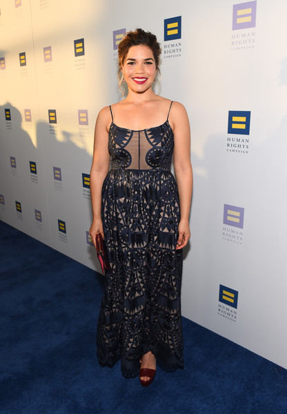 America Ferrera Platform Sandals [clothing,red carpet,dress,carpet,fashion,flooring,hairstyle,premiere,shoulder,fashion design,america ferrera,los angeles,jw marriott,california,l.a. live,red carpet,human rights campaign,gala dinner]