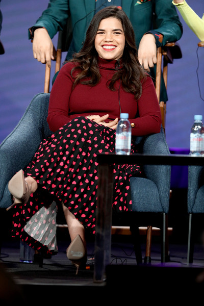 America Ferrera Turtleneck [performance,design,event,performing arts,photography,talent show,pattern,sitting,america ferrera,portion,panel,pasadena,superstore,california,winter tca,nbcuniversal,the langham huntington,television critics association winter press tour]