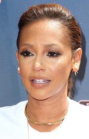 Melanie Brown played down her pout with just a swipe of lipgloss.