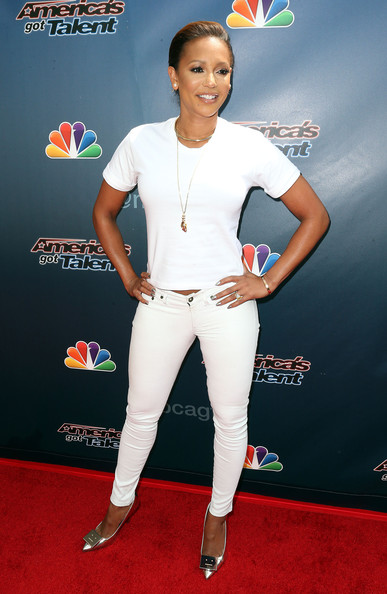 Melanie Brown finished off her ensemble in fun style with a pair of emoticon-accented Alivia pumps by Acne Studios.