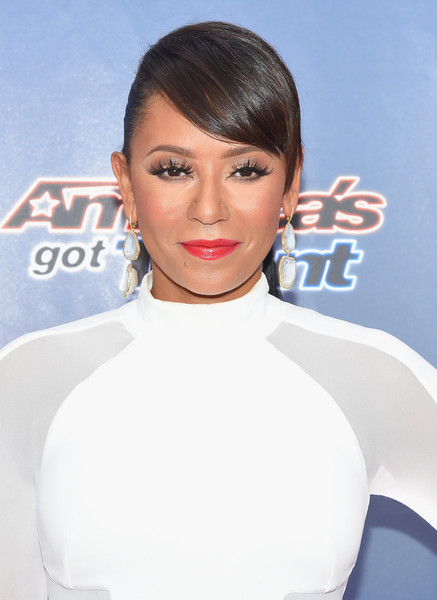 Melanie Brown sported a ponytail with bangs brushed forward during the 'America's Got Talent' season 10 taping.