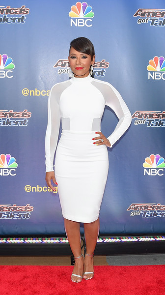 Melanie Brown kept the minimalist-chic vibe going with a pair of silver slim-strap sandals.