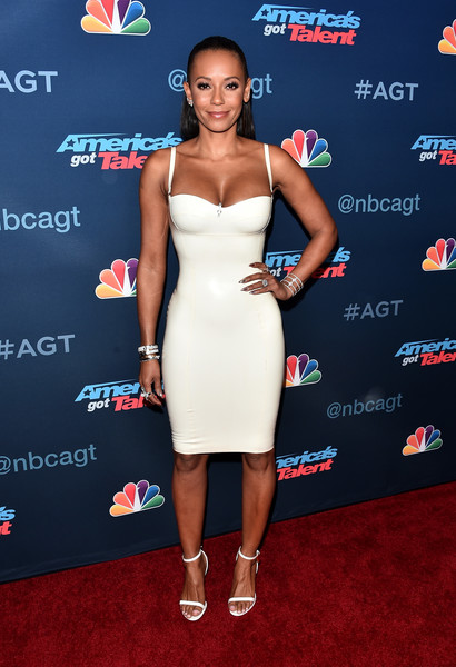 Melanie Brown finished off her look with white ankle-strap heels.
