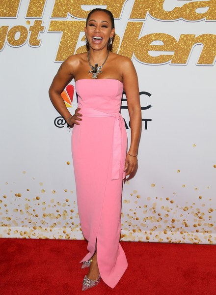 More Pics of Melanie Brown Short Straight Cut (1 of 5) - Short Hairstyles Lookbook - StyleBistro [clothing,dress,red carpet,shoulder,carpet,strapless dress,pink,hairstyle,fashion model,fashion,red carpet,americas got talent,season,california,los angeles,mel b]
