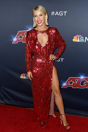 Julianne Hough matched her dress with red platform sandals.