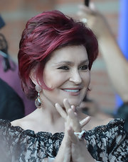 Sharon Osbourne finished off her look with an edgy-chic razor cut.