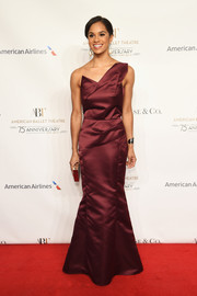 Misty Copeland got all glammed up in a structured burgundy one-shoulder gown for the American Ballet Theatre 75th anniversary gala.