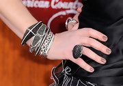Shawna Thompson's black statement ring echoed the style of her bangles.