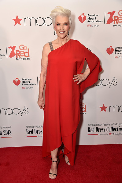 Maye Musk donned a loose, asymmetrical gown for the Go Red for Women 2018.