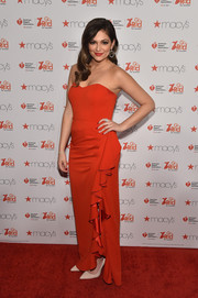 Bethany Mota looked very girly in a Badgley Mischka strapless gown with a sweetheart neckline and ruffle detailing during the American Heart Association Go Red for Women event.