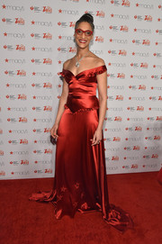 Carla Hall's Stephanie Bodnar off-the-shoulder gown at the American Heart Association Go Red for Women event had a Scarlett O'Hara feel.