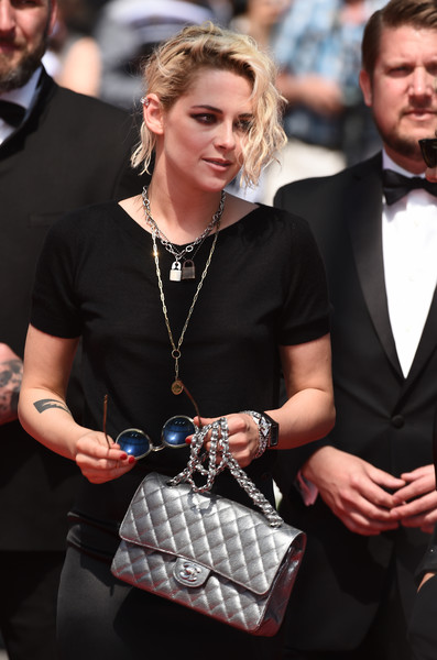Kristen Stewart arrived for the Cannes Film Festival premiere of 'American Honey' carrying a quilted silver bag by Chanel.